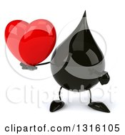 Clipart Of A 3d Oil Drop Character Holding And Pointing To A Heart Royalty Free Illustration