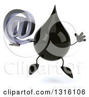 Clipart Of A 3d Oil Drop Character Jumping And Holding An Email Arobase At Symbol Royalty Free Illustration