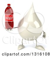 Clipart Of A 3d Milk Lotion Shampoo Or Liquid Soap Drop Character Holding A Soda Bottle Royalty Free Illustration