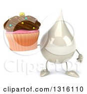 Clipart Of A 3d Milk Lotion Shampoo Or Liquid Soap Drop Character Holding A Chocolate Frosted Cupcake Royalty Free Illustration