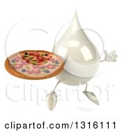 Clipart Of A 3d Milk Lotion Shampoo Or Liquid Soap Drop Character Facing Slightly Right Jumping And Holding A Pizza Royalty Free Illustration