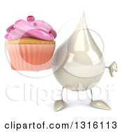 Clipart Of A 3d Milk Lotion Shampoo Or Liquid Soap Drop Character Giving A Thumb Down And Holding A Pink Frosted Cupcake Royalty Free Illustration