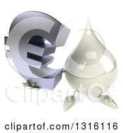 Clipart Of A 3d Milk Lotion Shampoo Or Liquid Soap Drop Character Holding Up A Euro Symbol Royalty Free Illustration