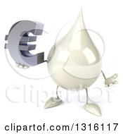 Clipart Of A 3d Milk Lotion Shampoo Or Liquid Soap Drop Character Shrugging And Holding A Euro Symbol Royalty Free Illustration
