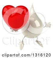 Clipart Of A 3d Milk Lotion Shampoo Or Liquid Soap Drop Character Facing Slightly Right Jumping And Holding A Heart Royalty Free Illustration
