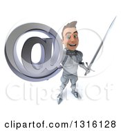 Clipart Of A 3d Caucasian Male Armored Knight Holding Up A Sword And Arobase At Symbol Royalty Free Illustration