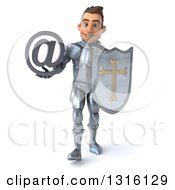 Clipart Of A 3d Caucasian Male Armored Knight Walking With A Shield And Arobase At Symbol Royalty Free Illustration
