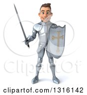 Clipart Of A 3d Caucasian Male Armored Knight Royalty Free Illustration by Julos