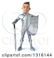 Clipart Of A 3d Caucasian Male Armored Knight Standing With A Sword And Shield Royalty Free Illustration