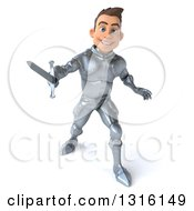 3d Caucasian Male Armored Knight Fighting With A Sword