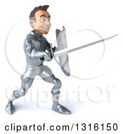3d Caucasian Male Armored Knight Facing Right And Fighting With A Sword