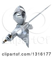 Clipart Of A 3d Armored Knight Holding A Sword And Pointing Outwards Around A Sign Royalty Free Illustration