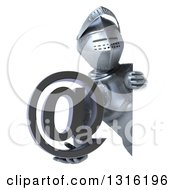 Clipart Of A 3d Armored Knight Holding An Email Arobase At Symbol Around A Sign Royalty Free Illustration