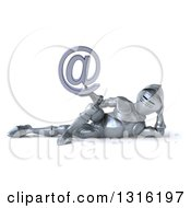 Clipart Of A 3d Armored Knight Resting On His Side And Holding An Email Arobase At Symbol Royalty Free Illustration