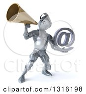 Clipart Of A 3d Armored Knight Holding An Email Arobase At Symbol And Announcing With A Megaphone Royalty Free Illustration