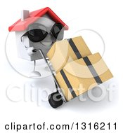 Clipart Of A 3d Happy White House Character Wearing Sunglasses Facing Slightly Right And Moving Boxes On A Dolly Royalty Free Illustration