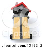 Clipart Of A 3d Happy White House Character Wearing Sunglasses And Moving Boxes On A Dolly Royalty Free Illustration