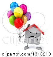 Clipart Of A 3d Unhappy White House Character Holding And Pointing To Party Balloons Royalty Free Illustration