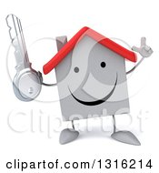 Clipart Of A 3d Happy White House Character Holding Up A Finger And A Key Royalty Free Illustration