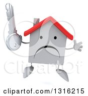 Clipart Of A 3d Unhappy White House Character Jumping And Holding A Key Royalty Free Illustration