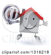 Clipart Of A 3d Happy White House Character Jumping And Holding An Email Arobase At Symbol Royalty Free Illustration