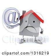 Clipart Of A 3d Unhappy White House Character Holding An Email Arobase At Symbol Royalty Free Illustration