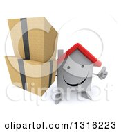 Clipart Of A 3d Happy White House Character Holding Up A Thumb And Boxes Royalty Free Illustration