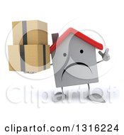 Clipart Of A 3d Unhappy White House Character Holding Up A Finger And Boxes Royalty Free Illustration