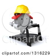Clipart Of A 3d Happy White House Character Contractor Running On A Treadmill Facing Right 2 Royalty Free Illustration