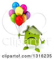 Clipart Of A 3d Unhappy Green House Character Shrugging And Holding Party Balloons Royalty Free Illustration