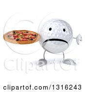 Clipart Of A 3d Unhappy Golf Ball Character Holding A Thumb Down And A Pizza Royalty Free Illustration