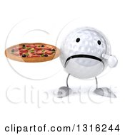 Clipart Of A 3d Unhappy Golf Ball Character Holding And Pointing To A Pizza Royalty Free Illustration
