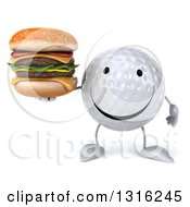 Clipart Of A 3d Happy Golf Ball Character Holding A Double Cheeseburger Royalty Free Illustration