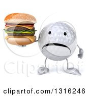 Clipart Of A 3d Unhappy Golf Ball Character Holding A Double Cheeseburger Royalty Free Illustration