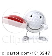 Clipart Of A 3d Happy Golf Ball Character Holding And Pointing To A Beef Steak Royalty Free Illustration