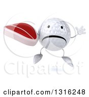 Clipart Of A 3d Unhappy Golf Ball Character Jumping And Holding A Beef Steak Royalty Free Illustration