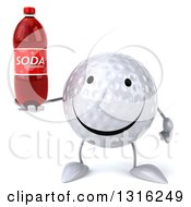 Clipart Of A 3d Happy Golf Ball Character Holding A Soda Bottle Royalty Free Illustration