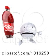 Clipart Of A 3d Unhappy Golf Ball Character Holding Up A Thumb Down And A Soda Bottle Royalty Free Illustration