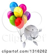 Clipart Of A 3d Happy Golf Ball Character Facing Slightly Right Jumping And Holding Party Balloons Royalty Free Illustration