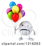 Clipart Of A 3d Unhappy Golf Ball Character Holding Party Balloons Royalty Free Illustration