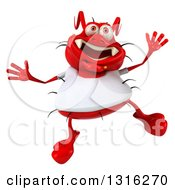 Clipart Of A 3d Red Germ Virus Wearing A White T Shirt Jumping Royalty Free Illustration by Julos