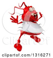Clipart Of A 3d Red Germ Virus Wearing A White T Shirt Facing Slightly Right And Jumping Royalty Free Illustration by Julos