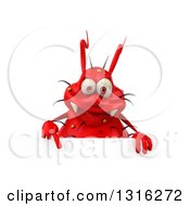 Clipart Of A 3d Red Germ Virus Pointing Down Over A Sign Royalty Free Illustration by Julos