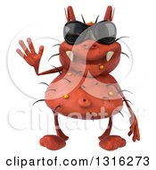 Clipart Of A 3d Waving Red Germ Wearing Sunglasses Royalty Free Illustration by Julos
