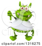 Clipart Of A 3d Green Germ Virus Wearing A White T Shirt And Giving A Thumb Down Royalty Free Illustration