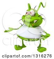 Clipart Of A 3d Green Germ Virus Wearing A White T Shirt Presenting Royalty Free Illustration by Julos
