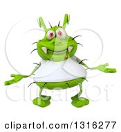Clipart Of A 3d Green Germ Virus Wearing A White T Shirt Welcoming Royalty Free Illustration