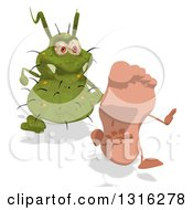 Clipart Of A Cartoon Green Germ Virus Chasing A Foot 2 Royalty Free Illustration