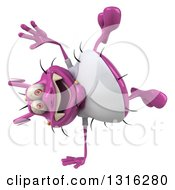 Clipart Of A 3d Purple Germ Virus Wearing A White T Shirt And Cartwheeling Royalty Free Illustration by Julos
