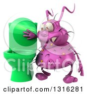 Clipart Of A 3d Purple Germ Virus Looking In A Green Toilet Royalty Free Illustration by Julos